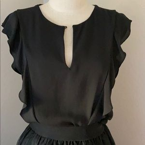 Zara  Trafaluc black blouse with ruffles